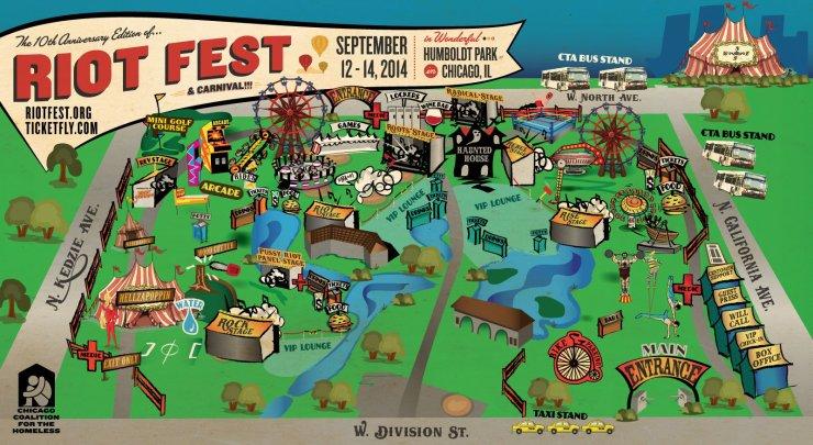 Riot Fest Chicago 2014 map